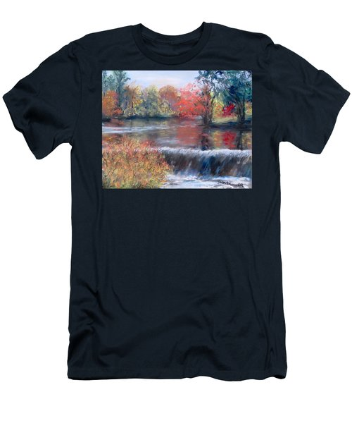 Men's T-Shirt (Slim Fit) featuring the painting Charles River, Natick by Jack Skinner