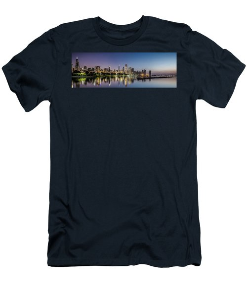 Chicago Skyline At Dawn With A Panoramic Crop  Men's T-Shirt (Athletic Fit)