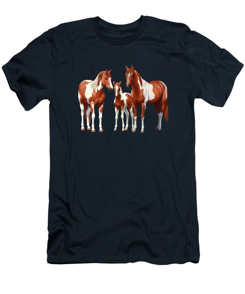 Chestnut Paint Horses In Winter Pasture Men's T-Shirt (Athletic Fit)