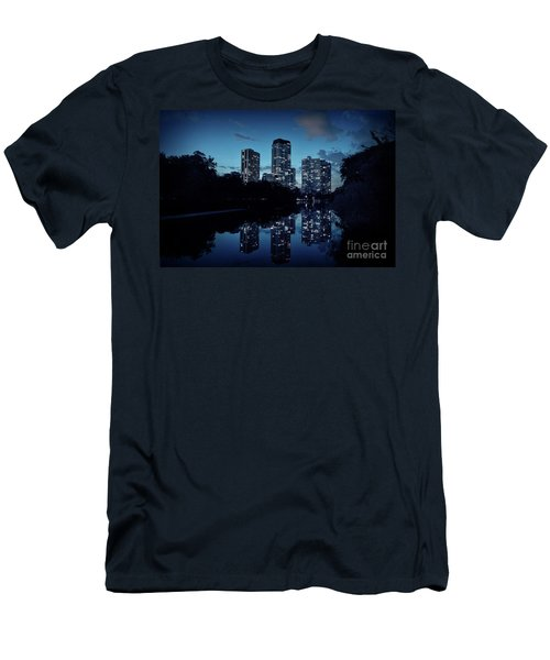 Chicago High-rise Buildings By The Lincoln Park Pond At Night Men's T-Shirt (Athletic Fit)