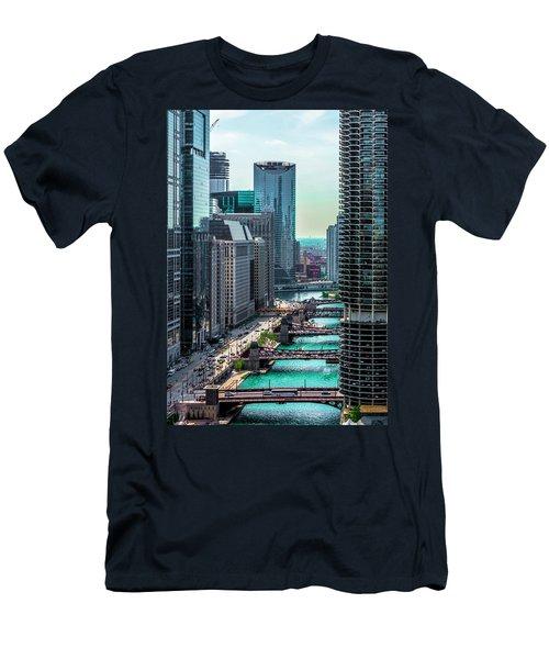 Chicago River From Londonhouse Chicago Dsc2290 Men's T-Shirt (Slim Fit) by Raymond Kunst
