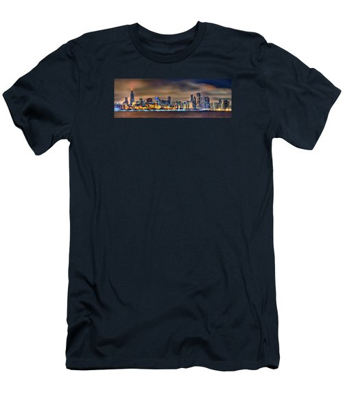 Chicago Skyline At Night Panorama Color 1 To 3 Ratio Men's T-Shirt (Slim Fit) by Jon Holiday