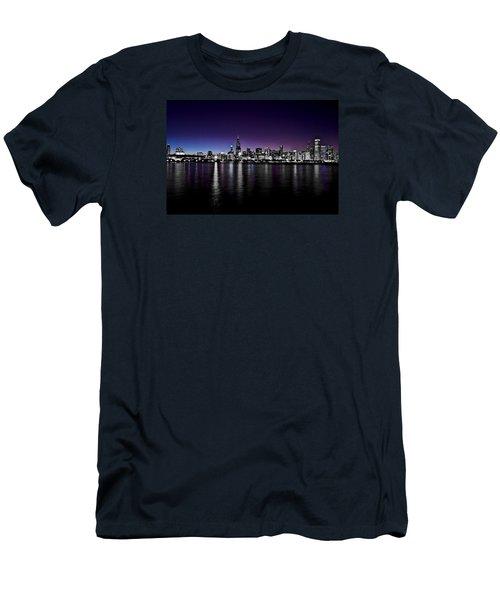 Chicago Skyline Bnw With Blue-purple Men's T-Shirt (Slim Fit) by Richard Zentner