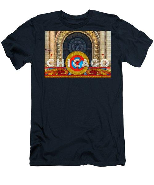 Chicago Theatre Sign Dsc2176 Men's T-Shirt (Slim Fit) by Raymond Kunst