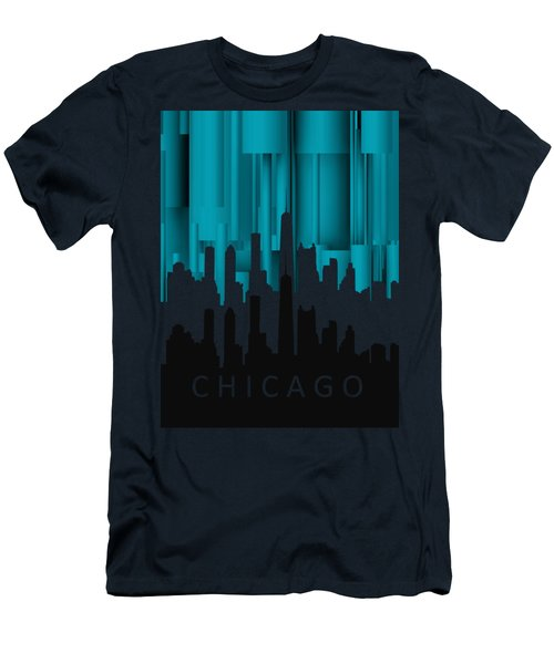 Chicago Turqoise Vertical In Negetive Men's T-Shirt (Slim Fit) by Alberto RuiZ
