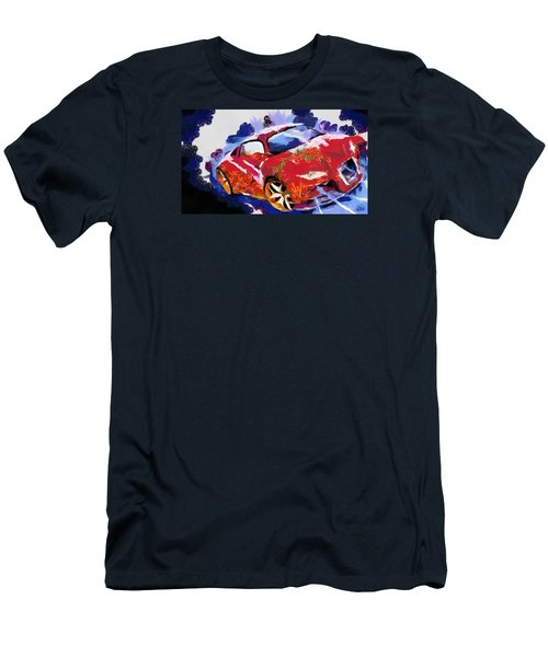 Men's T-Shirt (Slim Fit) featuring the painting Chubby Car Red by Catherine Lott