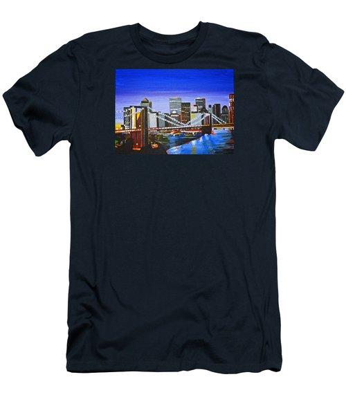 City At Twilight Men's T-Shirt (Slim Fit) by Donna Blossom