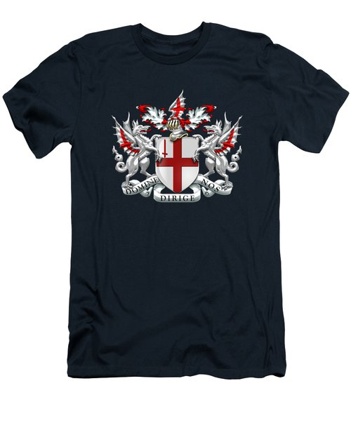 City Of London - Coat Of Arms Over Blue Leather  Men's T-Shirt (Athletic Fit)