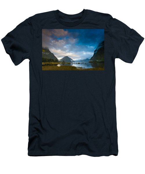 Cloudy Morning At Milford Sound At Sunrise Men's T-Shirt (Athletic Fit)