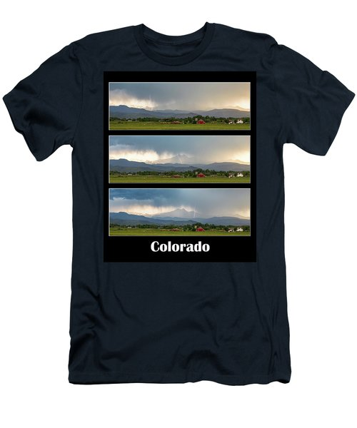 Men's T-Shirt (Slim Fit) featuring the photograph Colorado Front Range Longs Peak Lightning And Rain Poster by James BO Insogna