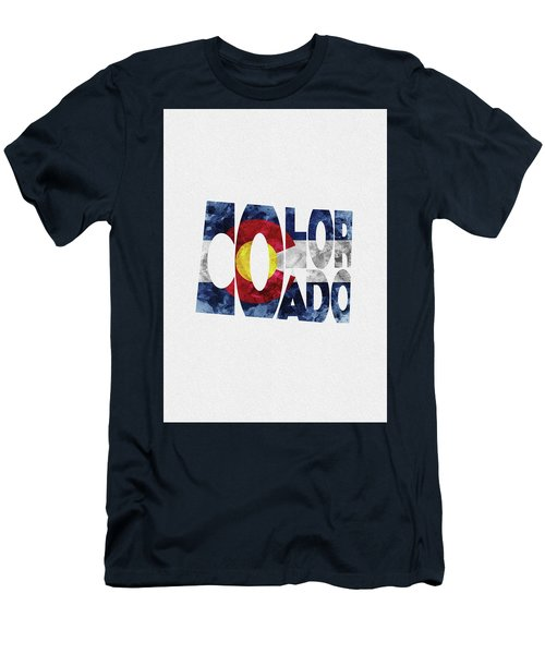 Colorado Typographic Map Flag Men's T-Shirt (Athletic Fit)