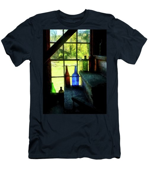 Colored Bottles On Steps Men's T-Shirt (Slim Fit) by Susan Savad