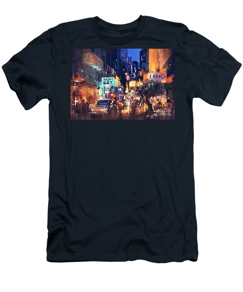Colorful Night Street Men's T-Shirt (Athletic Fit)
