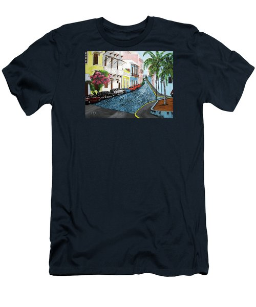 Colorful Old San Juan Men's T-Shirt (Slim Fit) by Luis F Rodriguez