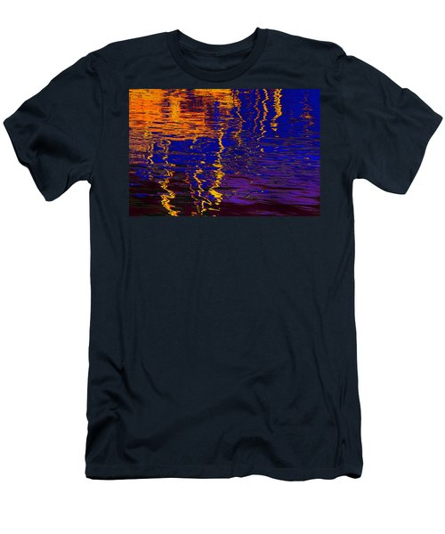 Colorful Ripple Effect Men's T-Shirt (Slim Fit) by Danuta Bennett