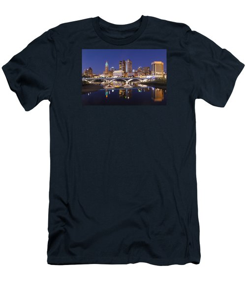Men's T-Shirt (Slim Fit) featuring the photograph Columbus Skyline Reflection by Alan Raasch