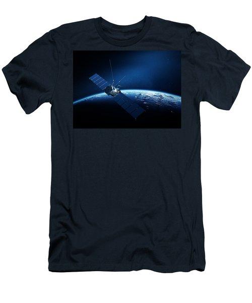 Communications Satellite Orbiting Earth Men's T-Shirt (Athletic Fit)