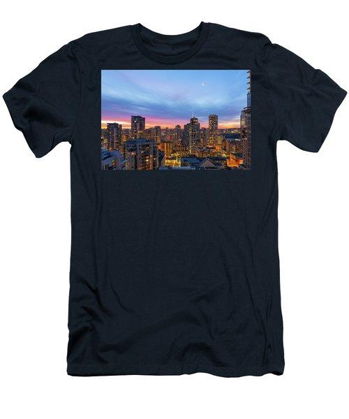 Condominium Buildings In Downtown Vancouver Bc At Sunrise Men's T-Shirt (Athletic Fit)