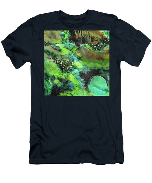 Men's T-Shirt (Slim Fit) featuring the painting Connect by Anil Nene