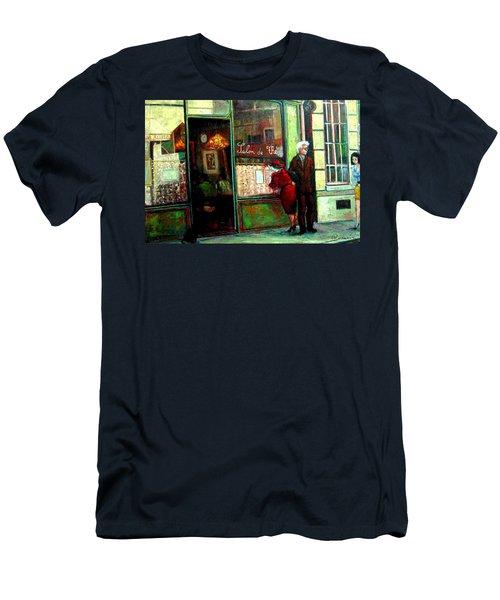 Men's T-Shirt (Slim Fit) featuring the painting Contemplando El Menu-looking Up The Menu by Walter Casaravilla