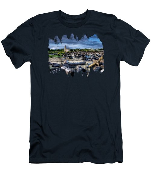 Coquille River Lighthouse And Driftwood Men's T-Shirt (Athletic Fit)