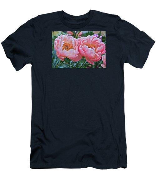 Coral Duo Peonies Men's T-Shirt (Slim Fit) by Janis Nussbaum Senungetuk