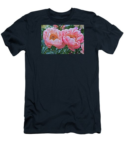 Coral Duo Peonies Men's T-Shirt (Athletic Fit)