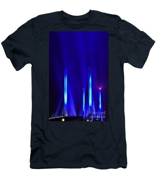 Blue Light Rays - Indian River Inlet Bridge Men's T-Shirt (Athletic Fit)