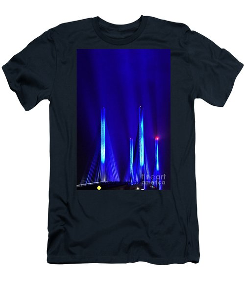 Blue Light Rays - Indian River Inlet Bridge Men's T-Shirt (Athletic Fit)