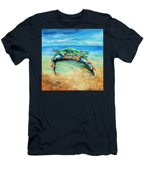 Men's T-Shirt (Slim Fit) featuring the painting Crabby At The Beach by Dianne Parks