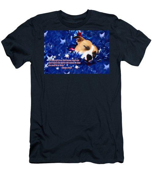 Men's T-Shirt (Slim Fit) featuring the photograph Cradled By A Blanket Of Stars And Stripes - Quote by Shelley Neff