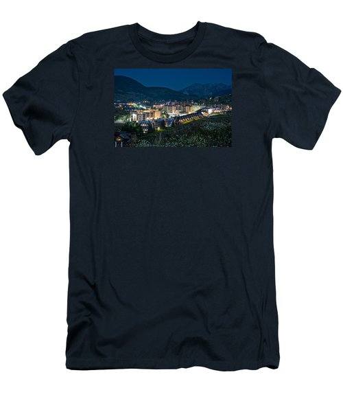 Crested Butte Village Under Full Moon Men's T-Shirt (Slim Fit) by Michael J Bauer