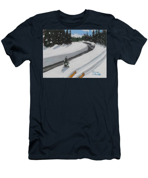 Cross Country Skiing Lone Star Geyser Trail In Yellowstone Nat. Park Men's T-Shirt (Athletic Fit)