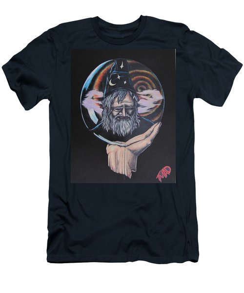 Men's T-Shirt (Slim Fit) featuring the drawing Crystal Wizard by Michael  TMAD Finney
