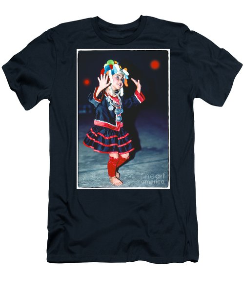Men's T-Shirt (Slim Fit) featuring the photograph Cute Little Thai Girl Dancing by Heiko Koehrer-Wagner