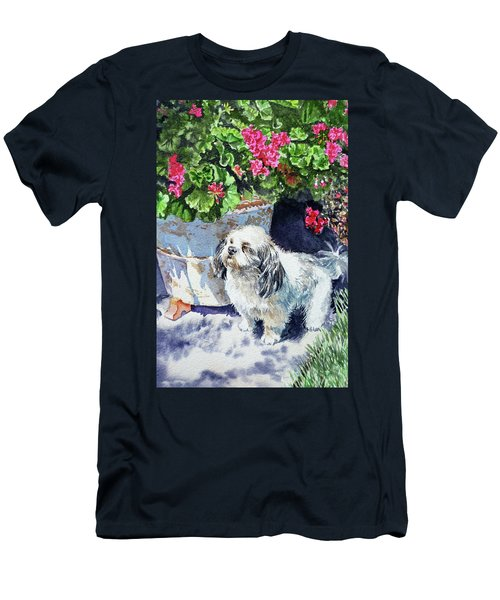 Cute Shih Tzu Dog Under Geranium  Men's T-Shirt (Athletic Fit)