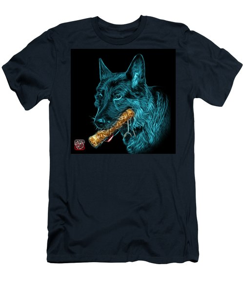 Cyan German Shepherd And Toy - 0745 F Men's T-Shirt (Athletic Fit)