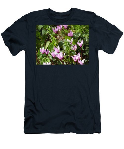 Cyclamen In Spring Men's T-Shirt (Slim Fit) by Esther Newman-Cohen
