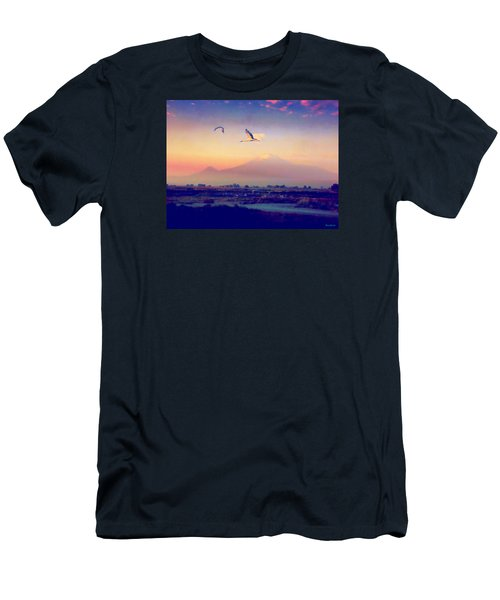 Dawn With Storks And Ararat From Night Train To Yerevan Men's T-Shirt (Slim Fit) by Anastasia Savage Ealy