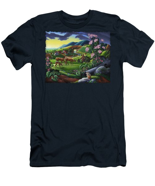 Deer Chipmunk Summer Appalachian Folk Art - Rural Country Farm Landscape - Americana  Men's T-Shirt (Athletic Fit)