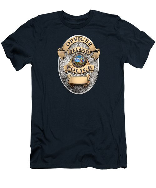Men's T-Shirt (Slim Fit) featuring the digital art Delano Police Department - Officer Badge Over Blue Velvet by Serge Averbukh