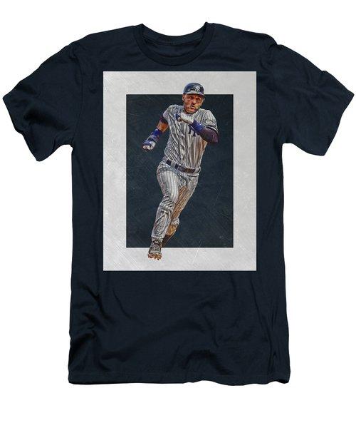 Derek Jeter New York Yankees Art 3 Men's T-Shirt (Slim Fit) by Joe Hamilton