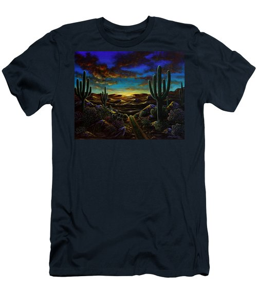 Men's T-Shirt (Slim Fit) featuring the painting Desert Trail by Lance Headlee