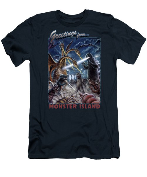 Destroy All Monsters Godzilla Kaiju Battle Monster Island  Men's T-Shirt (Athletic Fit)