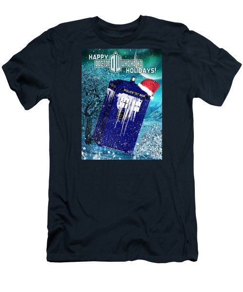 Doctor Who Tardis Holiday Card Men's T-Shirt (Athletic Fit)