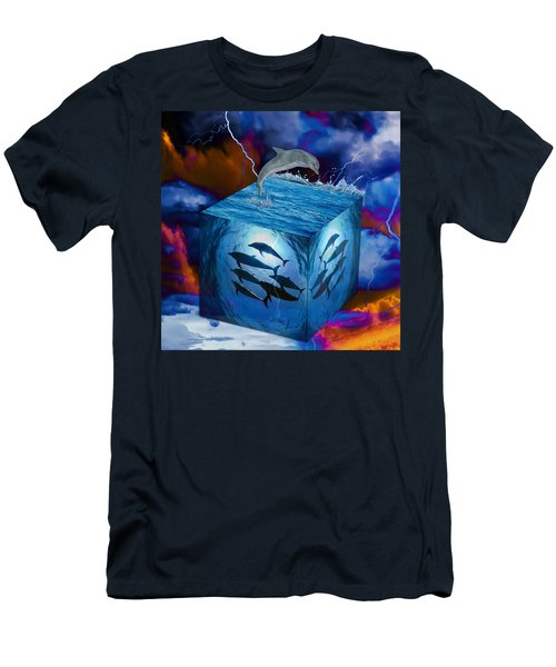 Men's T-Shirt (Athletic Fit) featuring the mixed media Dolphin Original Art by Marvin Blaine