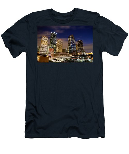 Downtown Houston At Night Men's T-Shirt (Athletic Fit)