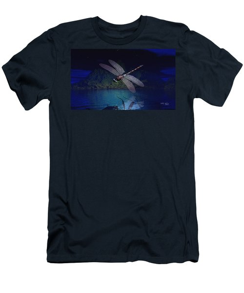 Men's T-Shirt (Athletic Fit) featuring the digital art Dragonfly Night Reflections by Deleas Kilgore