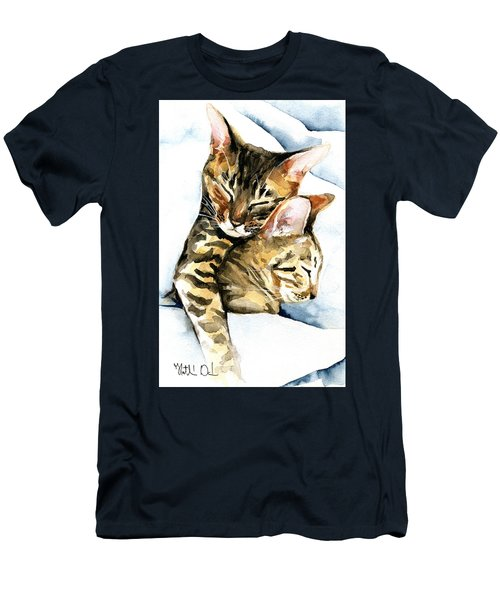 Dreamland - Bengal And Savannah Cat Painting Men's T-Shirt (Athletic Fit)