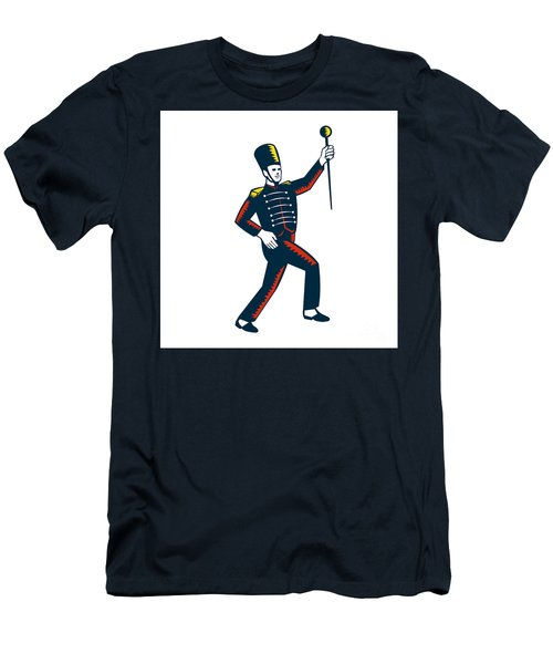 Drum Major Marching Band Leader Woodcut Men's T-Shirt (Athletic Fit)